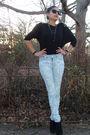 Black-made-it-myself-shirt-blue-silence-noise-jeans-black-plattform-pumps-