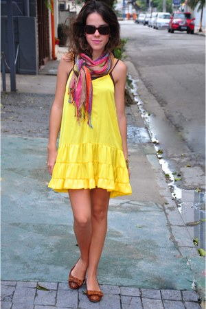 yellow Pynablu dress - Zion scarf - brown Zara flats - brown Chanel glasses