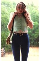 green whhttt bag - aquamarine whhttt vintage vest - black whhttt vintage belt -