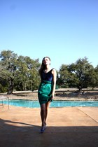 blue vintage shoes - navy American Apparel dress - aquamarine vintage skirt - gr