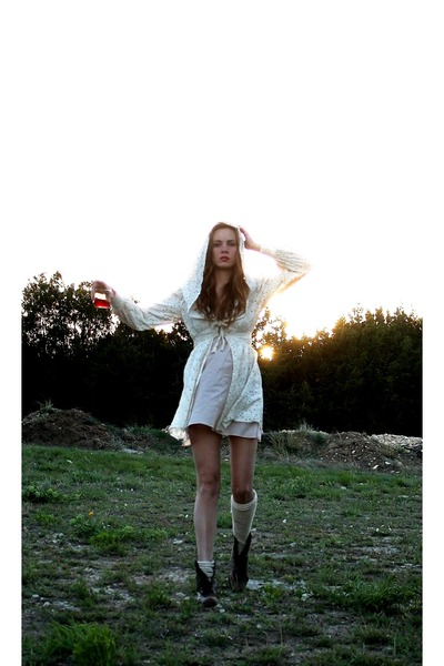 dark brown leather vintage boots - cream Me dress - peach slip Me intimate - egg
