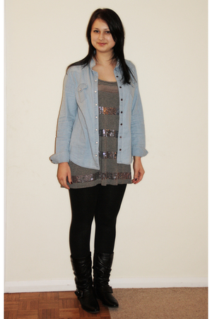 blue Topshop blouse - gray H&M shirt - black Shoe Zone boots