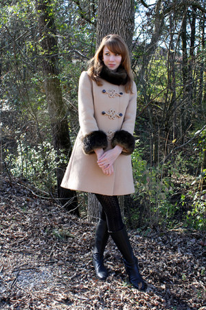 camel 1960s vintage coat - black Target tights - black calvin klein boots