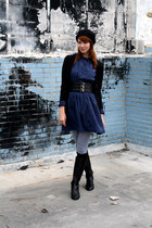 black calvin klein boots - navy Vintage Halston dress - black Pangaea hat - gray