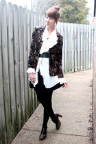 dark brown vintage blazer - black Target tights - black vintage skirt - eggshell