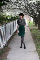 black vintage boots - black vintage hat - gray Target tights - black vintage blo