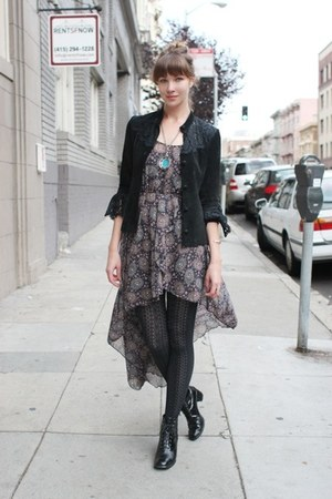 charcoal gray Love dress - black vintage boots - black vintage jacket
