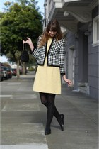 black jacket - light yellow vintage dress - black tights - black vintage bag
