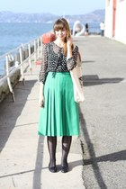 green vintage skirt - black Target tights - eggshell Tara Tucker bag