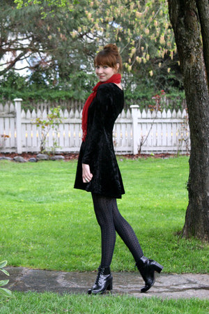 black Target stockings - black vintage boots - black vintage dress