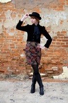 dark brown vintage skirt - black calvin klein boots - black vintage hat