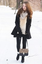 eggshell VJ-style sweater - black H&M Trend coat - black H&M Trend leggings