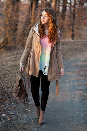 light brown romwe boots - camel Sheinside coat - bubble gum Wildfox sweater