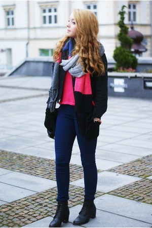 black romwe jacket - bubble gum H&amp;M scarf - black VJ Style bag