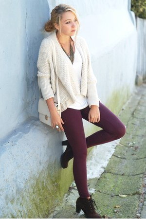 ivory Bershka sweater - dark brown romwe shoes - maroon H&M leggings
