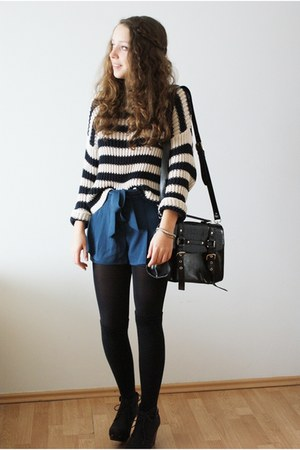 black Gatta tights - navy Topshop sweater - black romwe bag - blue romwe shorts