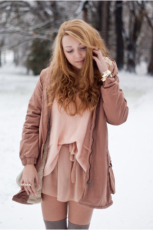 pink Sheinside coat - light brown romwe shoes - light pink ianywear sweater