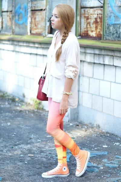 light pink romwe leggings - ruby red Sheinside bag - peach Converse sneakers