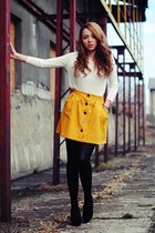 gold Sheinside skirt - black Papilion shoes - off white Zara sweater