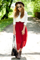 ruby red BangGood skirt - brown Papilion shoes - dark brown romwe hat