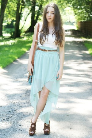 brown Sheinside bag - light blue Sheinside skirt - brown Czas na buty wedges
