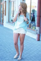 light blue romwe sweater - light blue romwe bag - white OASAP shorts