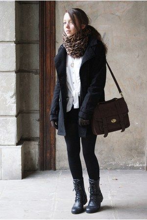 black Papilion boots - black H&amp;M coat - brown gypsy warrior scarf