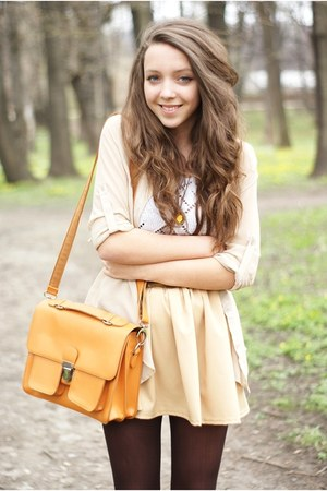 gold romwe bag - white Marc O Polo top - olive green Pepe Jeans flats