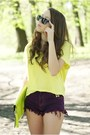 Lime-green-alex-bags-purses-bag-magenta-diy-shorts-light-yellow-h-m-blouse