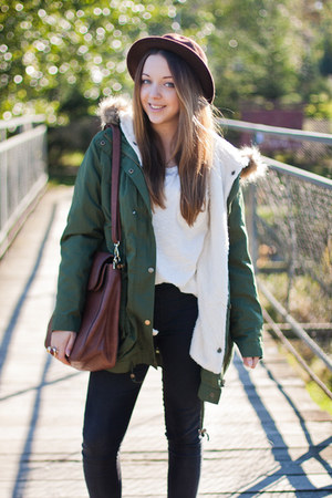 olive green Sheinside jacket - brown Tommy Hilfiger boots - dark brown OASAP hat