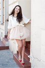 Red-elilu-shoes-ivory-romwe-bag-white-sheinside-blouse-neutral-oasap-skirt