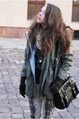 Army-green-romwe-jacket-black-czasnabuty-boots-beige-stradivarius-leggings