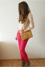 Hot-pink-vero-moda-pants-beige-romwe-sweater-tan-oasap-bag