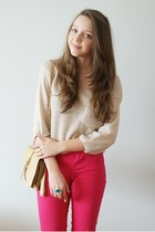 hot pink Vero Moda pants - beige romwe sweater - tan OASAP bag