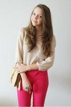 hot pink Vero Moda pants - beige romwe sweater - tan OASAP bag