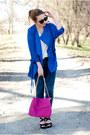Blue-romwe-coat-black-pimkie-shoes-hot-pink-choies-bag