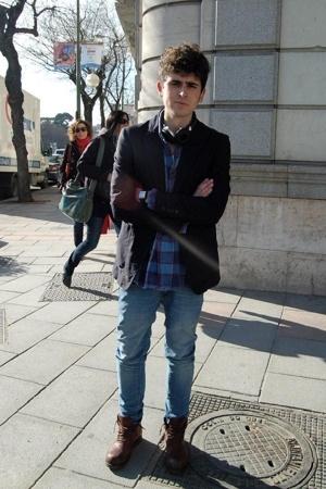 Diesel boots - vintage shirt - Zara jacket