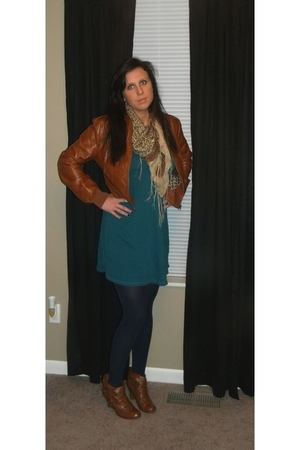 brown coco and lilly jacket - blue JCrew dress - blue Target stockings - brown T
