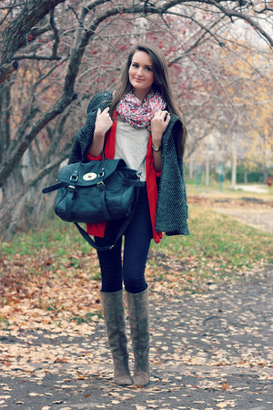 navy wool ostin coat - gray suede Yoox boots - navy skinny asos jeans