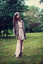 light pink Love dress - tan new look boots - tan Bershka cardigan