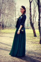 black YNG jacket - forest green Edressy dress - black Marc by Marc Jacobs bag