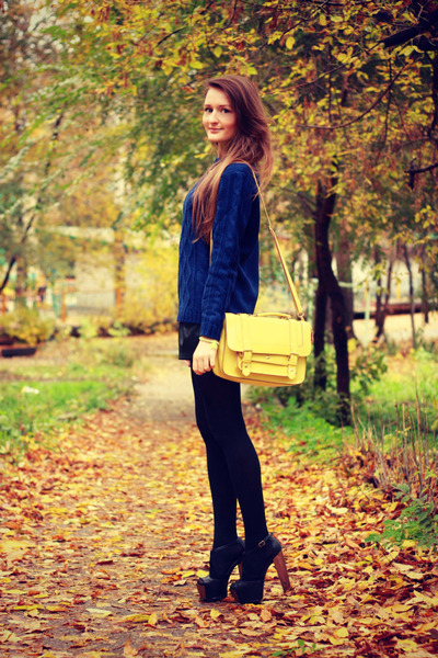 light yellow Accessorize bag - navy pull&amp;bear sweater - black asos heels