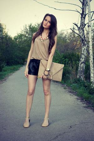 tan asos bag - tan Zara top - beige Zara flats - coral Accessorize necklace