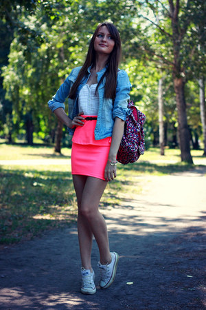 bubble gum Bershka skirt - hot pink Accessorize bag - white Converse sneakers