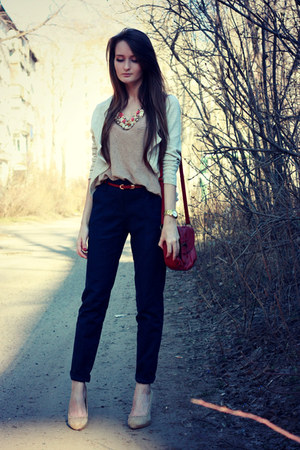 nude Zara shoes - crimson Accessorize bag - brown Zara top - navy Zara pants