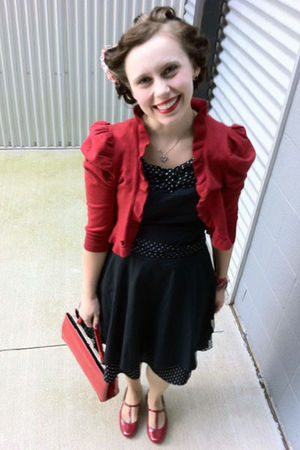 black dress - red cardigan - red purse - red shoes