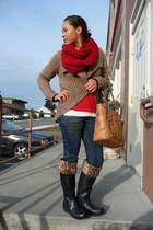 black Jimmy Choo Hunter Boots boots - ruby red f21 scarf - nude coach purse - li