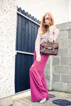 bubble gum Topshop shirt - brown Awear bag - hot pink asos pants - heather gray