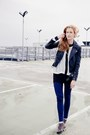 Black-topshop-jacket-navy-h-m-pants-gray-zara-flats