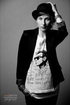 black River Island hat - black H&M blazer - white Urban Outfitters top